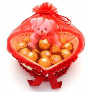 Giftease_Heart_Shape_Red_Net_Basket_With_24_Pieces_Ferrero_Rocher_Valentine's Day